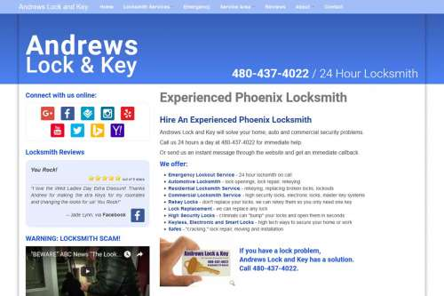 Andrews Lock and Key Website Design by McColley Marketing Media, Mesa, AZ