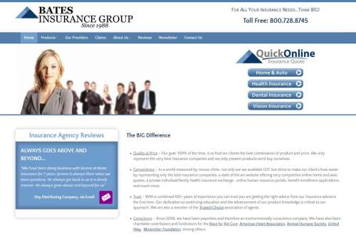 Bates Insurance Group Website Design by McColley Marketing Media, Mesa, AZ