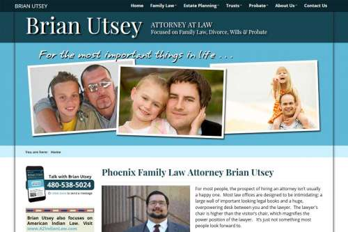 Attorney Brian Utsey's Family Law Website Design by McColley Marketing Media, Mesa, AZ