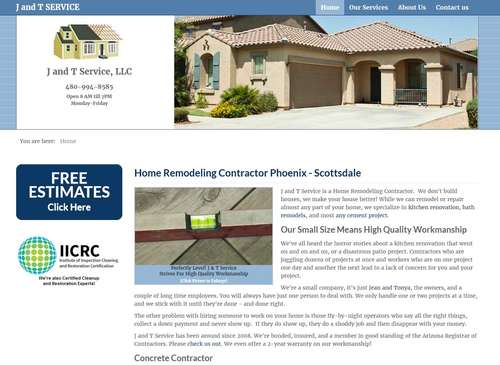 J and T Service Website Design by McColley Marketing Media, Mesa, AZ