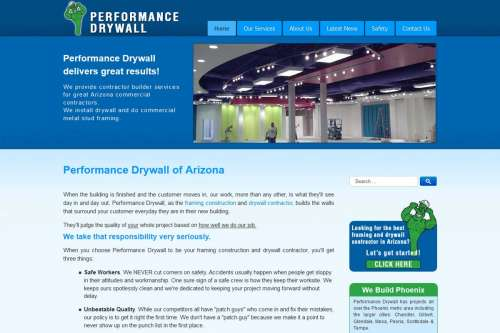 Performance Drywall Website Design by McColley Marketing Media, Mesa, AZ