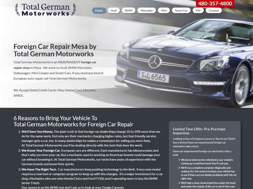 Total German Motorworks Website Design by McColley Marketing Media, Mesa, AZ